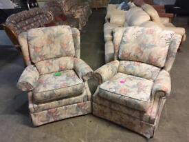 Floral armchairs in good condition can deliver £30 each or both for £50