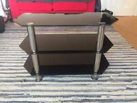 John Lewis Tv stand / Table / shelf - Black Glass with Silver