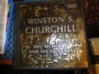12 Vinyl Records - Winston Churchill Memoirs & Speeches