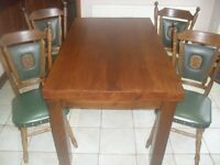 SOLID WOOD, DARK OAK, FARM HOUSE STYLE TABLE & 4 CHAIRS
