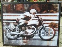 metal art work rider on motor bike