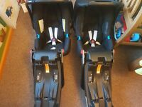 Twin Britax Baby-Safe Car Seats with isofix bases