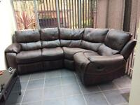 BEL AIR LEATHAIRE BROWN CORNER SOFA WITH RECLINING SEATS GOOD CONDITION