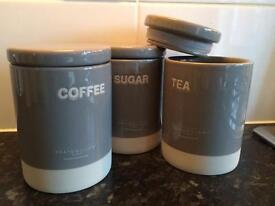 Set of Gray & Willow Tea, Coffee and Sugar Canisters