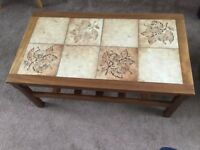 Coffee table,teakwith tiled top and shelf underneath.