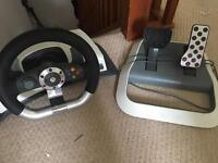 Xbox 360 wheel and pedals
