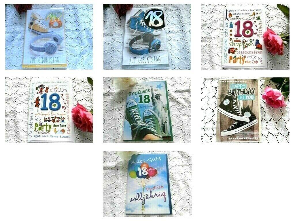 Glückwunsch Karte 18. Geburtstag  AUSWAHL MODERN auch Maxi Card TOP- Qualität