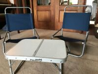 Low Camping Chairs and Table