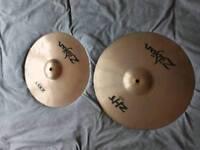 2 Zildjan cymbals - 14 inch crash zbt, 15 inch fast crash zht