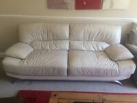 Cream Italian leather sofa - Great condition. (originally from harvey's - bargain!)