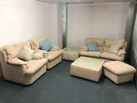 2 Double Sofas, 2 Single Armchairs & glass Top Matching table unit