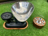 Vintage cast iron kitchen scales and weights