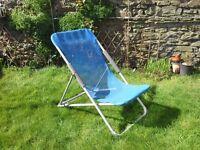 Deckchair, garden chair, blue textilene
