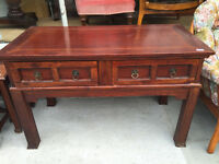 Hall/Living room Console Table . Chunky wood style . Size L 47in D 23.5in H 30in.