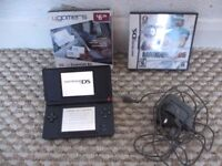 Black Nintendo Ds Lite with game and accessories