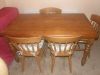Cottage Style Pine Table And 4 Matching Oak Chairs