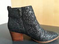 Next Black Glitter Boots Size 5