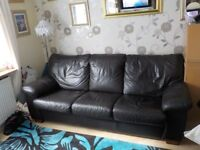 D.F.S Brown Leather 3 seater sofa bed, with fire safe tags.