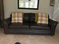 Marks and Spencer Large Dark Brown Leather sofa in Very Good Condition