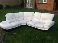 White and Black designer corner Leather sofa