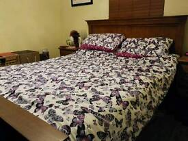 Oak King size bed frame mattress not included
