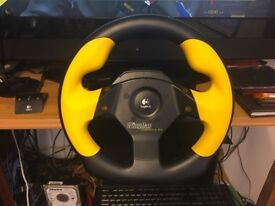 Logitech Wingman Formula GP gaming steering wheel and pedals.