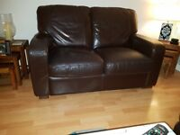 Two-Seater Great Quality Dark Brown Leather Sofa in Good Condition. Bought for £400!