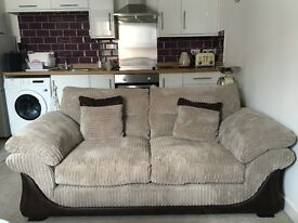 Large 2 seater sofa and matching storage footstool - perfect condition