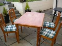 Solid Pine Dining Table & Matching 4 Chairs for Sale