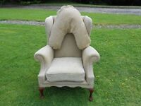 Queen Anne Wing-Back High Heavy Chair With Neck Pillow