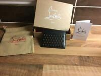 christian louboutin unisex black leather studded card holder