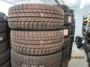 205/55R16 SET OF 4 USED MICHELIN WINTER TIRES ON MULTI FIT RIMS