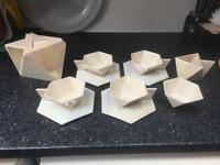 Geometric vintage mother of pearl white tea set