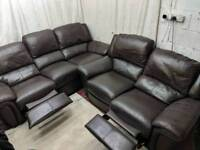 Brown leather 3 and 2 seater recliner sofas