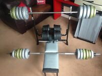 Weight Bench, Barbells & Dumbbells