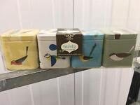 Bird designed spice tins
