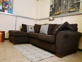 Next Carda Corner sofa in dark chocolate fabric RRP £1400