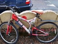 Red mountain bike with suspensions, adult size