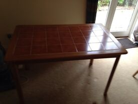 Wooden Table with Tiled Top