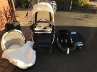 Oyster Pram and Carry Cot, Maxi-Cosi Cabriofix Base (Isofix) and Car Seat (Baby)
