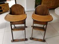 Pair of wooden high chairs