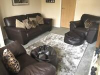 Chocolate Brown Leather 3 Piece Suite - excellent condition