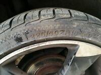 "SET OF 4 ALLOY WHEELS X 18"" & TYRES VW GOLF MK 5 6 7 SEAT LEON AUDI A3 A4 one has damage"
