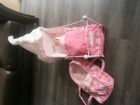 Baby Annabell Metal Crib and Baby Carrier