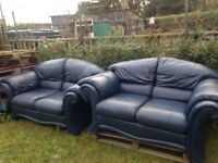2 x blue leather sofas