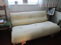 futon 4ft 6in excellent condition mint green buyer collect