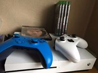 Xbox One S Console fully boxed , 2 Controllers, 4 Games plus Fifa 17 on hard drive