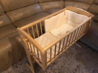 Mothercare swing crib / cot with mattress 0-6 month