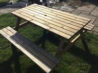 Picnic Table& Bench Set + Parasol Base, New.