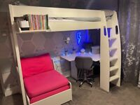 FOR SALE - Stompa UNO S 5 Highsleeper with Desk & Chair Sofa Bunk bed, mattress and beanbag.